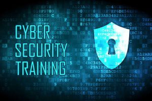 Cybersecurity Training with shield and lock