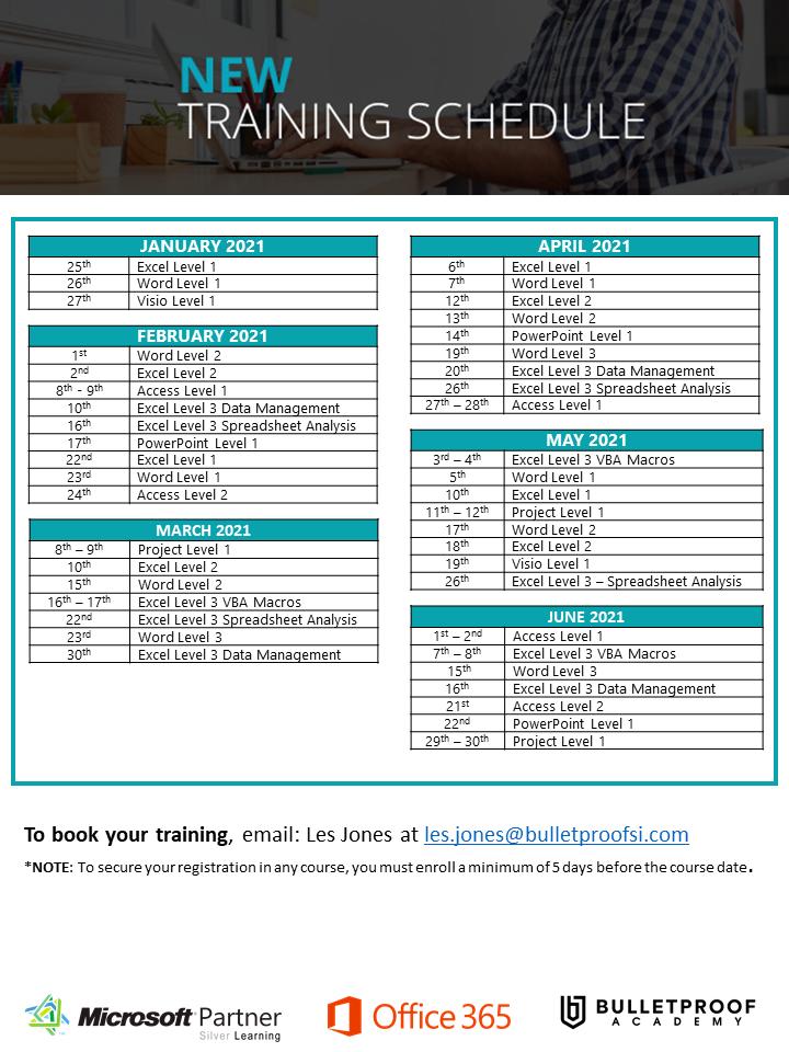 2021 Virtual Insructor-Led Training Calendar